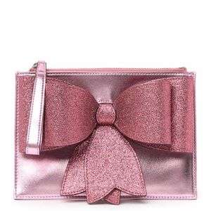 Gucci Borsa Bow Pink Metallic Leather Wristlet